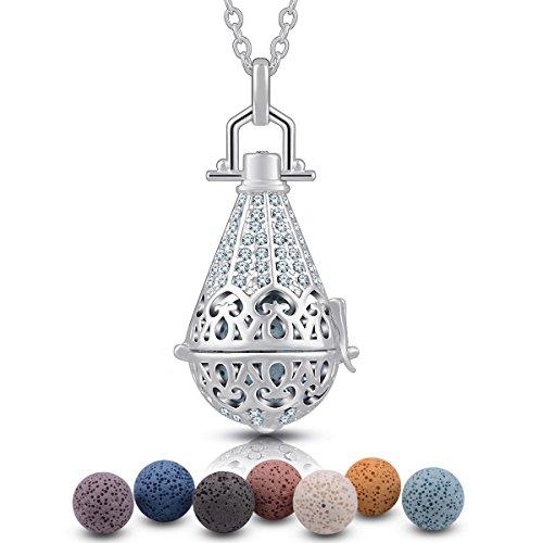 "EUDORA Aroma Lava Stone Vintage Aromatherapy Essential Oil Diffuser Necklace Pendant, 24"" + 7PCS Rocks"