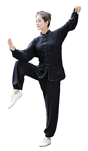 AvaCostume Chinese Womens Cotton Long Sleeves Tang Suit Kung Fu Uniform, Black, 3XL