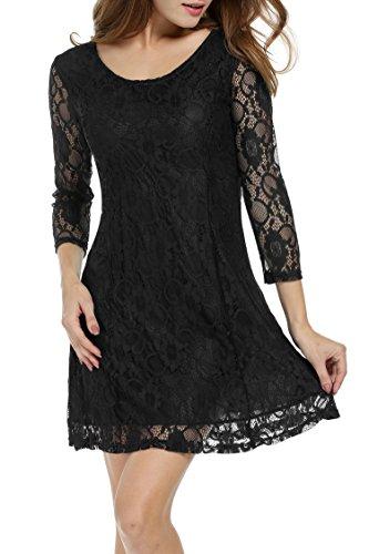 c5dc43c1dc4463 Ärmeln Mit 3 Kleid A-linie Damen Spitze Spitzenkleid Kleider Partykleid  Elegant Schwarz 4 Zeagoo ...