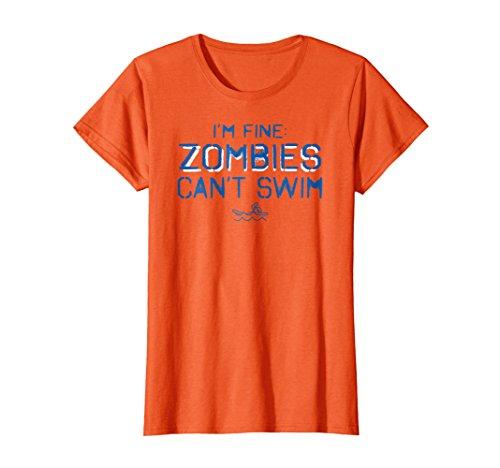 (Womens I'm Fine Zombies Can't Swim Funny Swimming T Shirt Medium Orange)