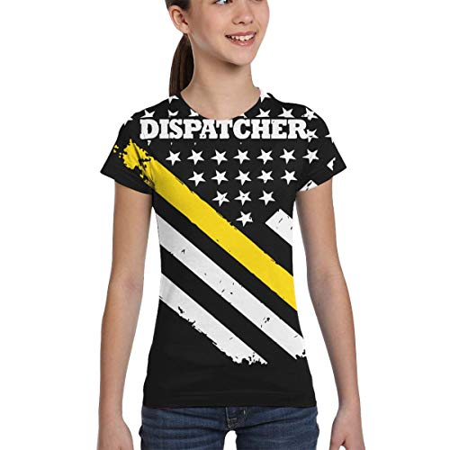 L6Nv4o@A Girls Short Sleeve 911 Dispatcher Thin Gold Line Flag T-Shirts, Fashion Tunic Shirt Dress, XS-XL