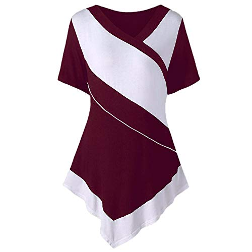 (FEITONG Short Sleeve Asymmetric Hem Tops for Women Summer Casual V-Neck Two Tone Patchwork T-Shirt(WineRed,XXXX-Large) )