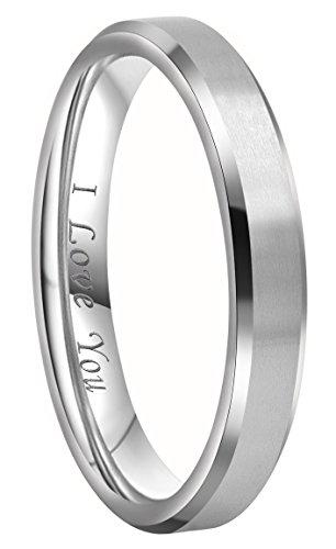 Crownal 4mm 6mm 8mm Titanium Wedding Couple Bands Rings Men Women Matte Brush Center Beveled Edges Engraved