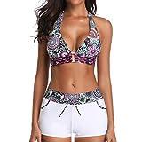 BaZhaHei Women's Print Bikini Bow Bandege Swimwear Push-Up Padded Beachwear Swimsuit with Shorts Halter Swimming Costume