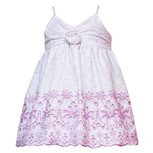 nfant Girls 3M-24M 2-Piece WHITE PINK DOT SCALLOPED-EYELET BORDER Spring Summer Party Dress RRE-24099S-S824099-24M ()