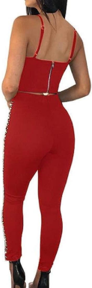 pipigo Womens Sleeveless V-Neck Outfits Set Crop Club Jumpsuits