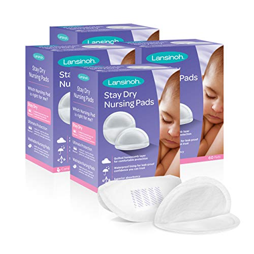 Lansinoh Stay Dry Disposable Nursing Pads for Breastfeeding, 240 count