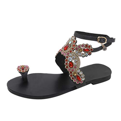YKARITIANNA Women Roman National Bohemian Beach Walk Shoes Pinch Rhinestone Flat Sandals 2019 Summer Black