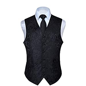HISDERN Men's Paisley Waistcoat Floral Jacquard Necktie Pocket Square Handkerchief Wedding Party Business Fit Vest Suit…