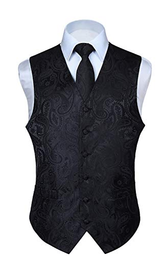 HISDERN Men's Paisley Floral Jacquard Waistcoat & Neck Tie and Pocket Square Vest Suit Set Black