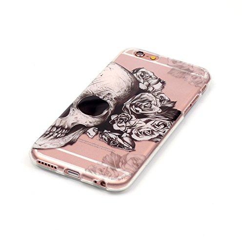 Hülle iPhone 5 5S SE , LH Seite Schädel Tasche Schutzhülle TPU Weich Muschel Silikon Handyhülle Schale Cover Case Gehäuse für Apple iPhone 5 5S SE