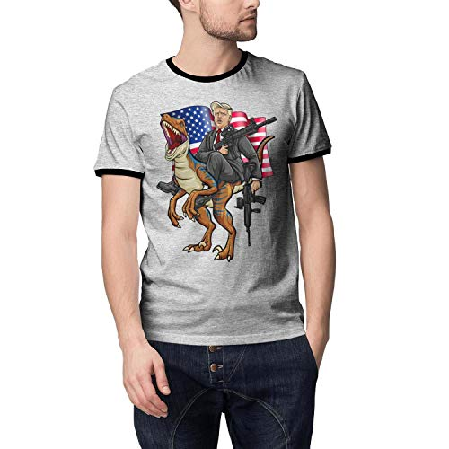 JDHASA Trump-2020-American-flag-dinosaur- Mens Ringer T Shirts Online - T-shirt Ringer Dinosaur