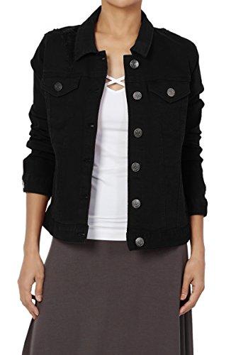 Black Denim Stretch Jacket - TheMogan Junior's Distressed Color Washed Jean Stretch Denim Jacket Black M