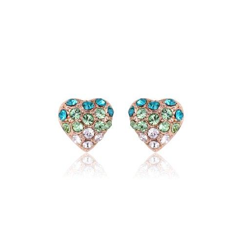 Flat Open Heart Earring (Fashion Plaza Cubic Zirconia Crystal Green Heart Earrings Studs)