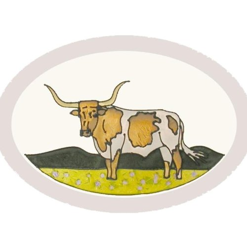 (Texas Longhorn Painted/Stained Glass Sucatcher O-033)