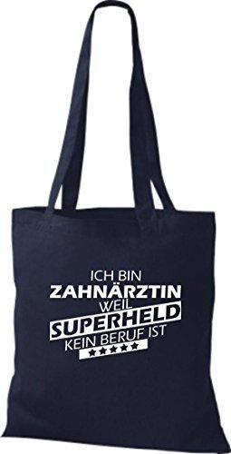 Shirtstown Bolso de tela Estoy Dentista, weil Superheld sin Trabajo ist azul marino