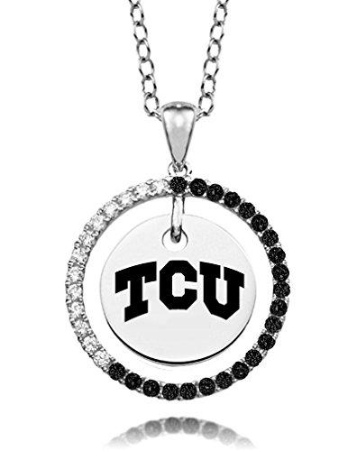 Texas Christian University Black and White Cz Circle ()