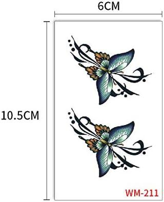 zgmtj Etiqueta engomada Negra del Tatuaje de la Flor de Mariposa ...