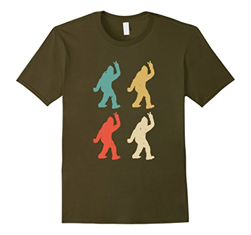 Mens Funny Monster Hoax Bigfoot Peace Sign Graphic T Shirt Large (Silhouette Olive)