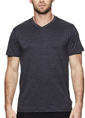 Gaiam Men's Everyday Basic V Neck T Shirt - Short Sleeve Yoga & Workout Top - Ebony Heather Everyday, - Intensity Soccer T-shirt
