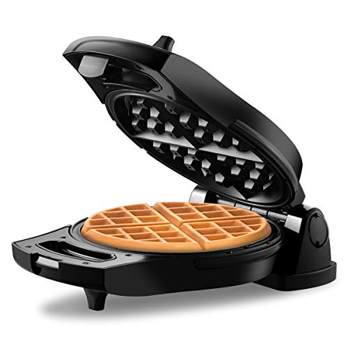 REDMOND Belgian Waffle Maker, 180° Flip Side Waffle Maker, 4-Slice Round Stainless Steel Anti-Overflow Waffle Iron with Temperature Control, Non-stick Plates, Cool Touch Handle, Compact & Fast, 950W, WM002