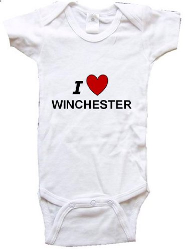 I LOVE WINCHESTER - WINCHESTER BABY - City Series - White Baby One Piece Bodysuit - size Small -