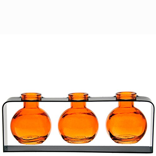 (Couronne Company M507-200-08 Trivo Three Recycled Glass Vases & Metal Stand, 3 3/4