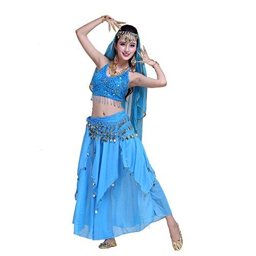 Maylong Women's Adjustable Halter Top Layered Belly Dancing Coin Skirt Halloween Indian Costume (2 Pieces, Sky Blue) - Halloween Costume Ballroom Dancer