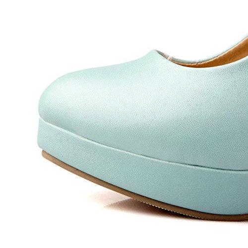 AllhqFashion Mujer Tacón Alto Material Suave Sólido Hebilla Puntera Cerrada Puntera Redonda De salón Azul