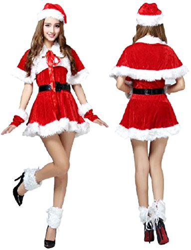 Disney Halloween Skeleton Dance (SPJ: Women's Santa Claus Cosplay Christmas Fancy Dress Costumes (Type C))