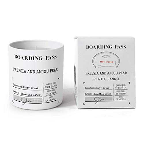 (Boarding Pass Study Break Freesia Anjou Pear Patchouli Wood Scented Candle White 5.6oz…)