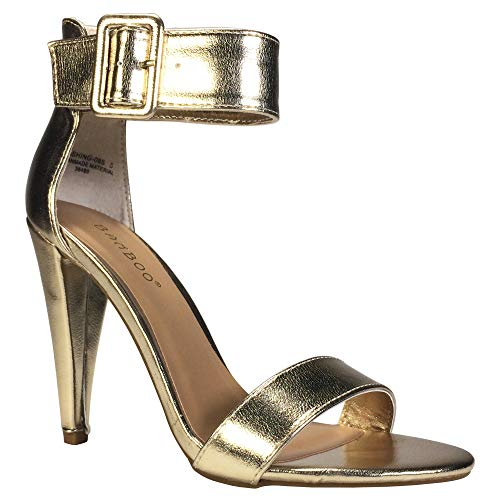 BAMBOO Women's Single Band Cone Heel Sandal with Ankle Strap, Gold PU, 8.5 B -