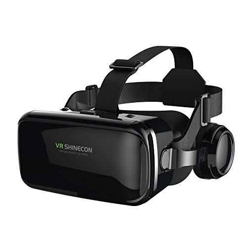 FIYAPOO 3D VR Gafas de Realidad Virtual, VR Glasses Visión Panorámico 360 Grado Película 3D Juego Immersivo para Móviles 4.7-6.6 Pulgada (Gafas VR con Auriculares) a buen precio