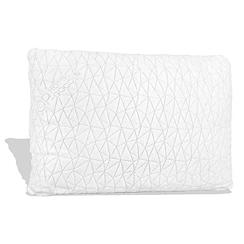 Coop Home Goods - Premium Adjustable Loft - Cross-Cut Hypoallergenic Certipur Memory Foam Pillow with Washable Removable Cooling Bamboo Derived Rayon Cover - Queen (Pillow Coconut)