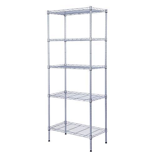 "SINGAYE Storage Rack 5-Tier Mesh Shelving Unit Storage Shelves Metal for Pantry Closet Kitchen Laundry 23.6"" L x 14"" W x 59.1"" H Silver"