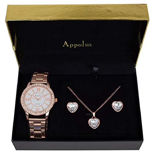 Graduation Gift Set - Birthday Gifts For Women - Best Gift For Mom Wife Girlfriend Anniversary Graduation - Appolus Watch Necklace Earrings Gift Set Rose GoldTone