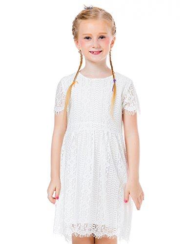 Ephex Flower Girls Dress Vintage Lace Princess White Dress For Little Girl