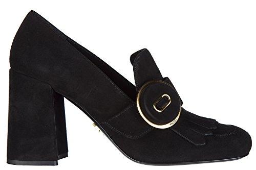 Prada Suede Heels (Prada Women's Suede Pumps Court Shoes High Heel Black US Size 5 1D723H 008 F0002)