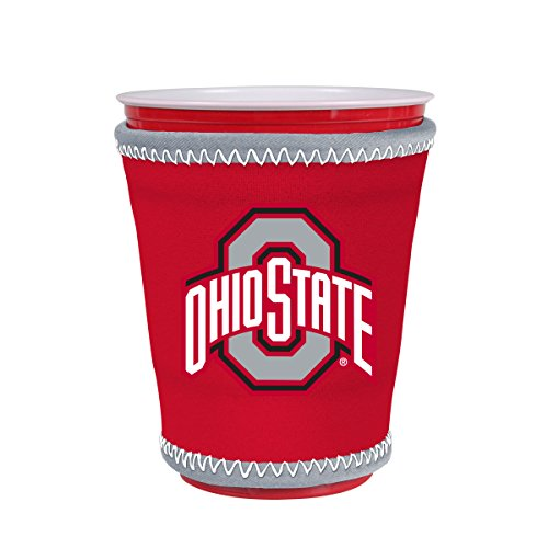 Kolder NCAA Logo Coolie Cup Holder Sleeve Fitting Plastic Cups, Pint Glasses, Coffee Cups, Ice Cream, Etc. - Neoprene and Bottomless (Ohio State - Glasses Fitting