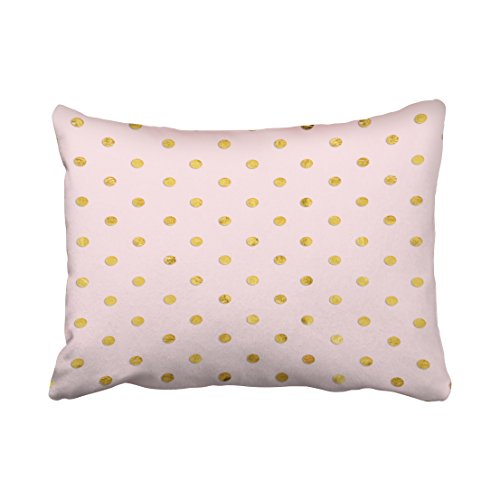 Tarolo Decorative Personalized Cotton Pillowcases Stylish Chic Girly Blush Pink And Gold Polka Dots Throw Pillow Covers Size 20x26 inches(51x66cm) One Sided - City Chic Center