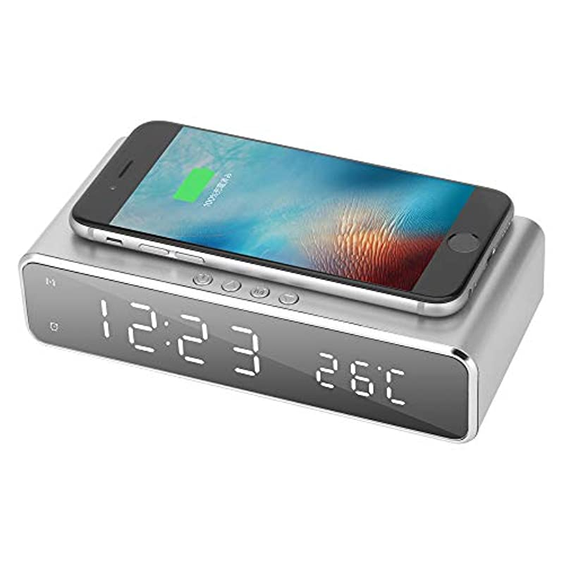 AUSHEN 자명종 wireless 탁상시계 QI 충전 기능 10W USB급전 android iphone충전기 온도 시간 기억 에너지 절약 일본어 설명서 부착