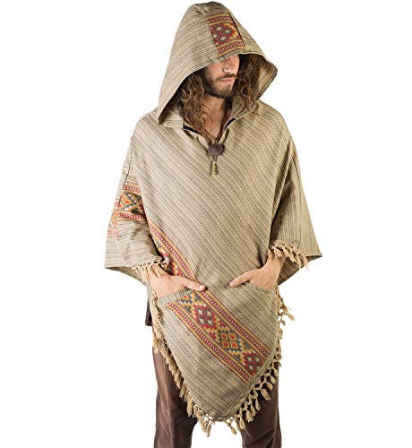 AJJAYA Handmade Mens Yak Wool Mocca Brown Hooded Poncho Two Pockets Ethnic Embroidery Mexican Primitive