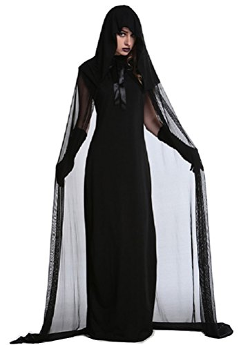 Adult Corpse Bride Deluxe Costumes (Vampire Costume Women, Halloween Deluxe Victorian Scary Zombie Ghost Cosplay Dress Black (XL))