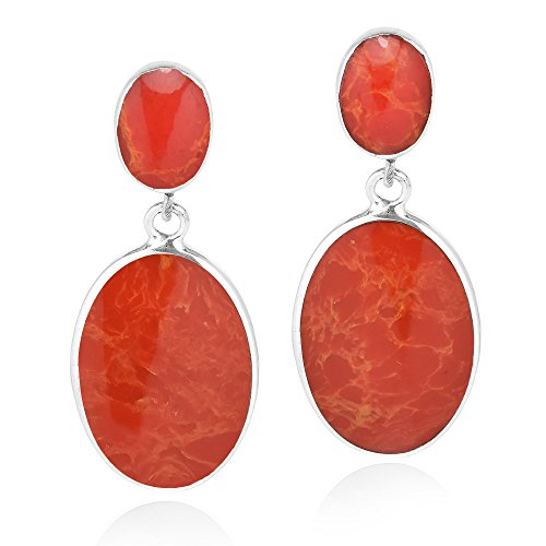 Classy Double Oval Reconstructed Red Coral Inlay .925 Sterling Silver Post Drop Dangle Earrings