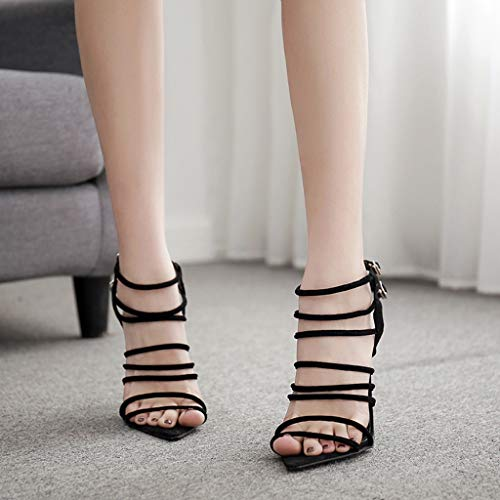 Women's Gladiator Buckle Ankle Strap Open Toe Stiletto - High Heels Pointed Strappy Dress Sandals (Black, Size:37/US:6.0) by Appoi Women Shoes (Image #2)