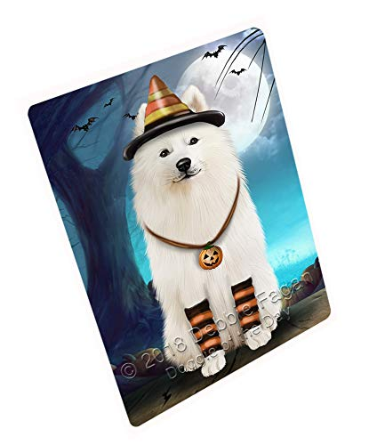 Doggie of the Day Happy Halloween Trick or Treat Samoyed Dog Candy Corn Magnet MAG61629 (Mini 3.5