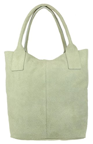 Real Top Open Beige Girly Suede Bag Shoulder HandBags Italian HwFttPq