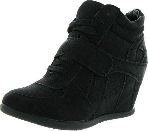 Top Moda Womens Sammy-40 High Top Strap Womens Hidden Wedge Sneaker Shoes,Black,9