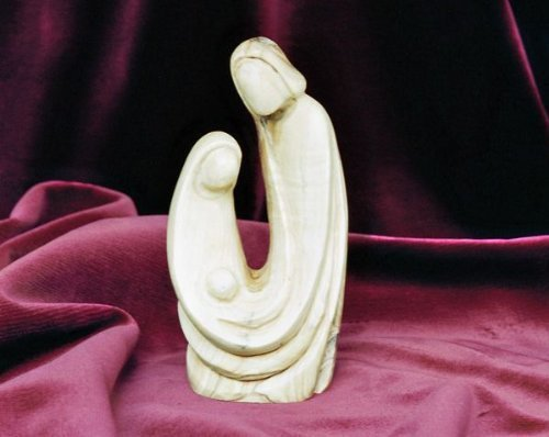 Nativity Set - Holy Family (1 piece). Height 14 cm. Hand-carved from olive wood in the Holy Land. by Figura Santa by Figura Santa