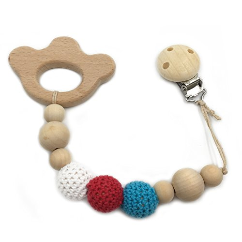 Amyster Baby Pacifier Clip Wooden Bear's paw Teether Eco-friendly Teething Crochet Beads Chew Nipple Folder Shaped Rattle Christmas Gift (Bear's paw) (Paws Pacifier)
